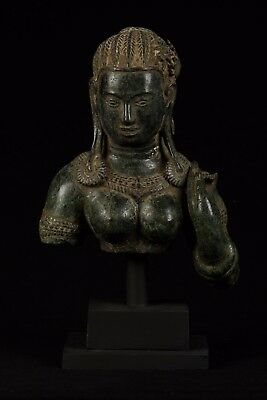 Antique Khmer Style Mounted Bronze Apsara Torso or Angel Statue - 32cm/13""