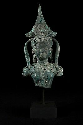 Antique Khmer Style Bronze Mounted Apsara Torso or Angel Statue - 41cm/16""