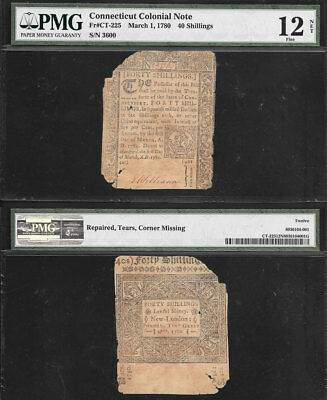 March 1, 1780 40 Shillings >Connecticut Colonial Note< Fr#ct-225 Pmg F/12 Net