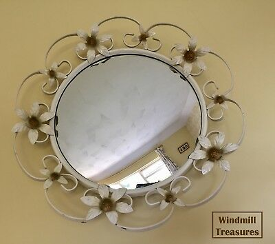 Vintage Concave Metal Cream Painted Floral Frame Mirror - Good Condition