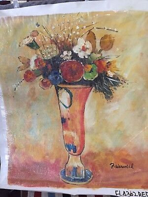 Flowers In Vase 20x24 Hand Painted Oil Painting On Canvas 1900