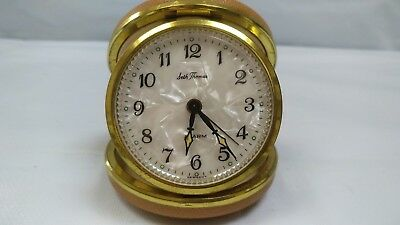 Vintage Seth Thomas Germany Travel Alarm Clock Mother of Pearl Dial Leather Case