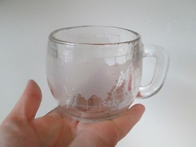 Old Vintage 1970's Nestle Nescafe Clear Glass Globe World Cup Mug Coffee Tea