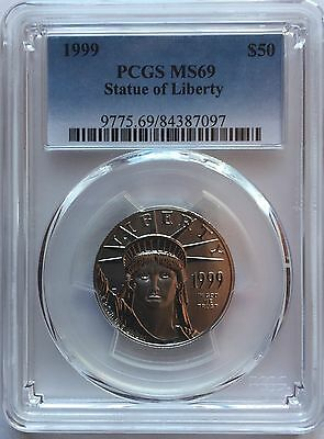1999 Platinum Eagle Pcgs Ms69 $50 Only 2 Coins Graded Ms70 Statue Of Liberty
