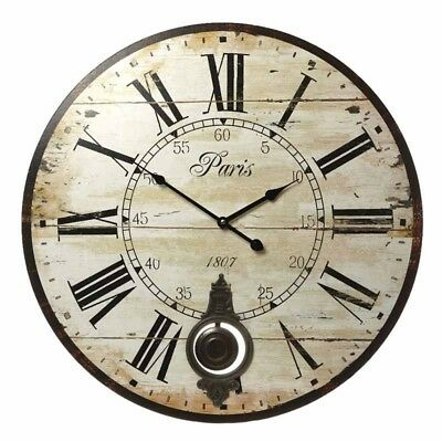 Cream Rustic Wood Pendulum Clock  Wall Mounted Clock Vintage Paris style