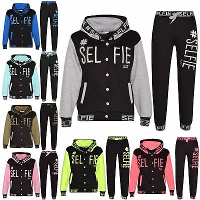 Kids Girls Boys Tracksuit Designer #Selfie Embroidered Top & Bottom Jogging Suit