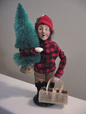 Byers Choice CAROLER BOY 1991 Red Plaid Coat Toting Tree Bundle of Firewood USA