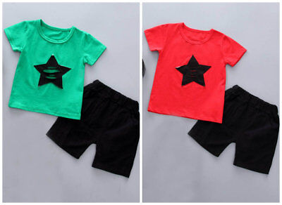 Boys summer outfits baby cotton T-shirt Top+short pants kids casual outfits STAR