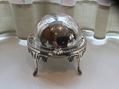Superb Vintage Pinder Brothers Silver Plated Roll Top Butter/caviar Dish