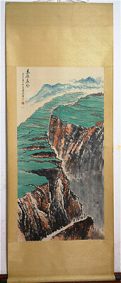 LARGE Excellent Chinese 100% Hand Painting & Scroll Landscape By Shi Lu石鲁 ZZ913E