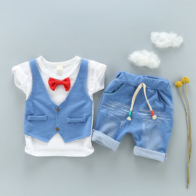 Baby Boys Gentleman clothes Sets T-shirt & short pants kids party birthday Suits
