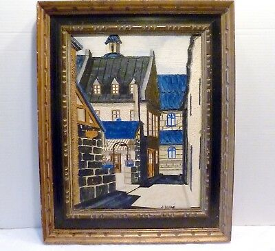 Mid-Century FRENCH COURTYARD European ARCHITECTURAL PAINTING J. Dube' BELGIUM