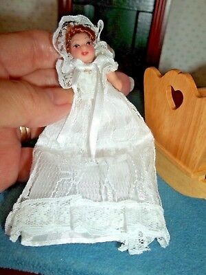 Porcelain Baby  - In White Gown  -  Doll House Doll