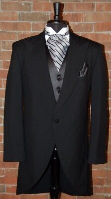Mens 38 R Black Classic Fit Cutaway / Morning Coat Tuxedo Jacket by Lord West