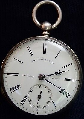 Thomas Russell & Son Liverpool Solid Silver Fusee Lever Pocket Watch Chester1877