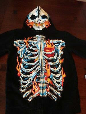 Boy's Hoodie Jacket Skeleton with flames  Size L full zip costume red/blk/wh