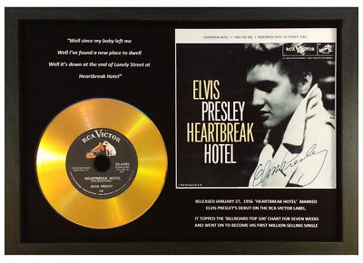 Elvis Presley 'heartbreak Hotel' Signed Gold Disc Collectable Memorabilia Gift.