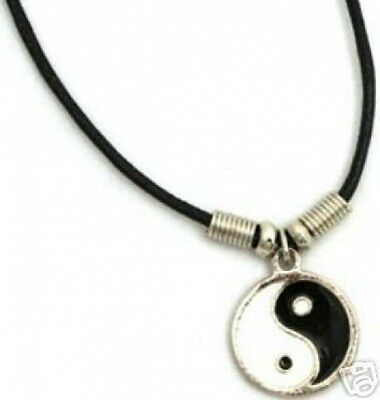 Yin Yang Pendant Chinese Necklace + Clasp on Cord FREE SHIP U.S. 1st Class - NEW