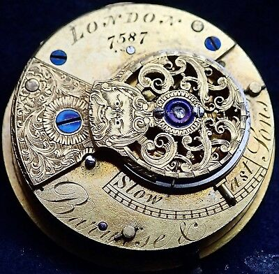 BARWISE & Sons London Fusee Verge Pocket Watch Movement circa 1820