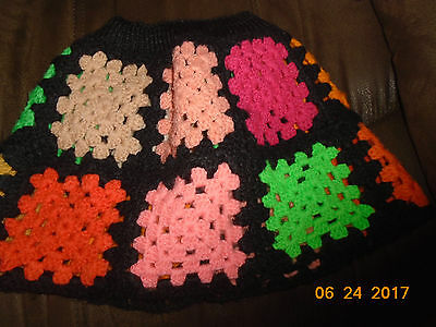 VTG 1970s 1980s Hand Knit Skirt For Toddler Girl