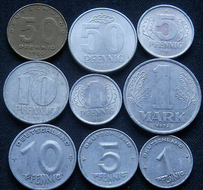 Germany, East, 9 Different Type Vintage Coins