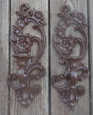 TWO Homco Brown wall sconces