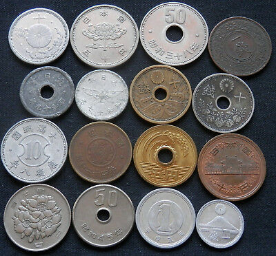 Japan, A Lot Of 16 Different Type Coins, Old And New