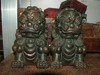 """9"""" Old Chinese Rosewood Hand-carved lion Fu Foo Dog Beast Imperial Statue Pair"""
