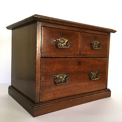 Stunning Edwardian Walnut Table Top Three Drawer Chest Quality