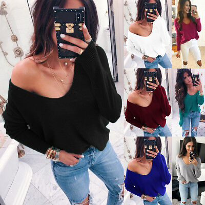 Women's Off Shoulder Knitted Jumper Ladies Oversized Baggy Sweater Pullover Tops