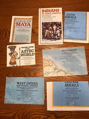 Lot Of South America, Aztec,maya Etc National Geographic Maps