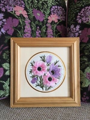 Vintage Floral Embroidery Picture Pink & Purple Flowers Mounted & Framed