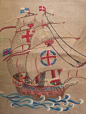 Vintage Hand Embroidered  Detailed Large Panel Galleon Ship