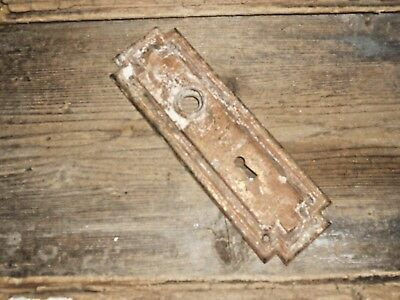 Vtg Steampunk Mission Raised Edge Rustic Aged Patina Shabby Door Knob Backplate