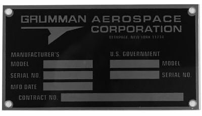 Reproduction Grumman Data Plate, 1979-1994, Vintage Aviation, F-14  DPL-0118