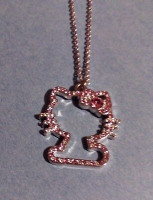 """Hello Kitty Pendant Necklace - Silver with Pink/Clear Crystals 24"""" Chain"""