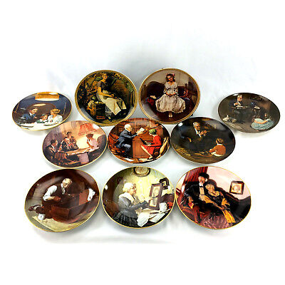 Lot 10 Knowles Collector Plates Norman Rockwell Art Vintage Limited Edition Set