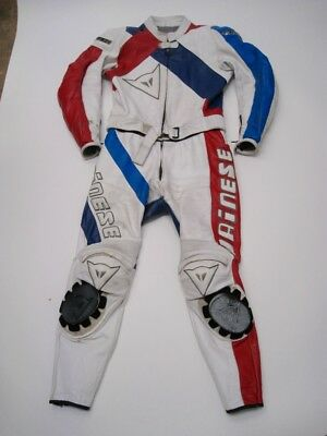 DAINESE White Leather Motorcycle Suit with Armor Italy Tag Size 52
