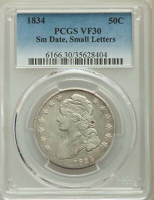 1834 Capped Bust Half Dollar Sm. Date, Small Letters PCGS VF-30