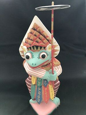 """Hand Carved Wood Frog w/ Umbrella Statue Indonesia Bright Colors 13.5"""" Tall"""
