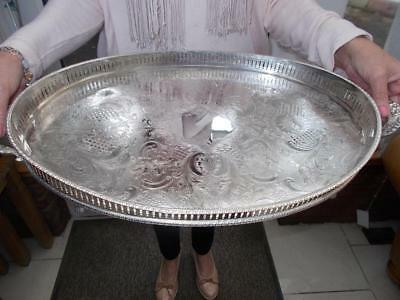 """Large Silver Plated Tray Gallery Ornate Handle Good Condition 21.5"""" With Handle"""