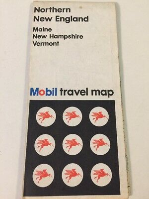 Vintage Mobile Travel Map Maine New Hampshire Vermont 1972