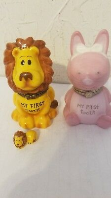 My First Tooth Lot Of Two Trinket Boxes Hinged Pink Kitty Cat And Happy Lion