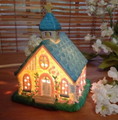 Vintage Ceramic Easter Bunny Church # 492 Cottage Collection Decoration