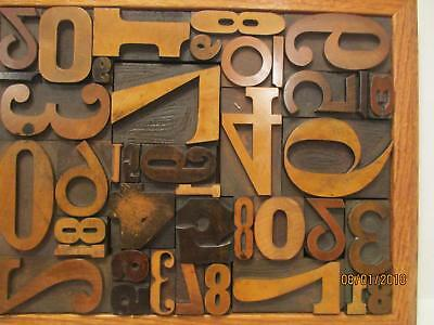 Antique Letterpress Printing Wood Type Graphic Design All Numbers 10 x 13 Frame