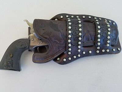 """A H Hardy Beverly Hills vintage tooled spotted holster colt 5 1/2"""" single action"""