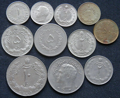 11 Different Type Vintage Coins From The Years Of The Shah