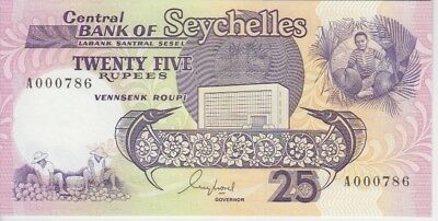 Seychelles Banknote P33-0786 25 Rupees (1989) Lucky Number 000786, UNC