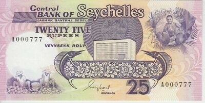 Seychelles Banknote P33-0777 25 Rupees (1989) Fancy Number 000777, UNC