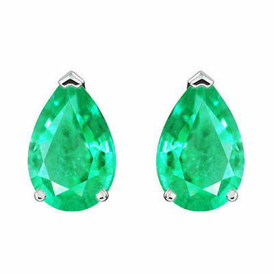 1.70 cts beautiful natural Colombian Pear Cut Emerald Stud Earrings Solid 14K